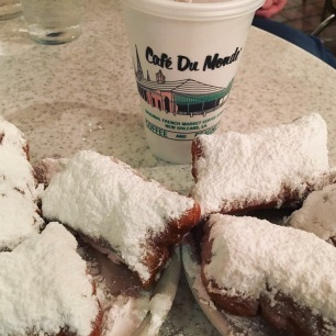 Beignets and chicory coffee at Cafe du Monde